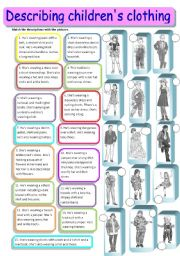 Describing children and teenagers´ clothes 2/3 - matching, fully editable