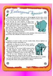 English Worksheet: Reading - Endangered Species