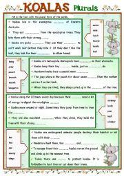English Worksheets: KOALAS + Plurals