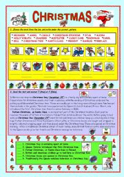 English Worksheet: CHRISTMAS - matching & reading (fully editable & key)