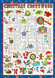 English Worksheet: A CHRISTMAS CROSSWORD (KEY INCLUDED)