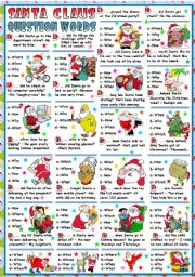 English Worksheet: SANTA CLAUS AND QUESTION WORDS (B&W VERSION+KEY INCLUDED)
