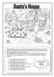 English Worksheets: Santa�s House