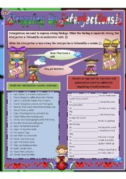 English Worksheet: Wrapping Up Interjections - 92 sentences includes writing activity