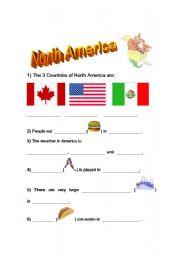 English worksheets: North America Fact Sheet