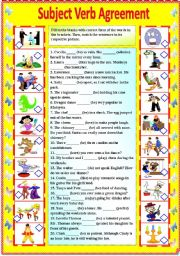 Subject Verb Agreement (with B/W and answer key) **editable