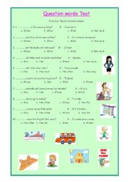 English Worksheets: question words test