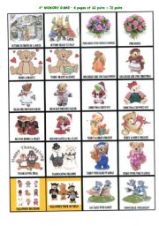 English Worksheets: set of 5 board games part 4/5 : memory game