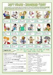 English Worksheet: Past Simple Pack - irregular verbs (affirmative) [formation + exercises] ((3 pages)) - keys + B&W version included ***editable