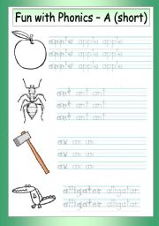 English Worksheets: Fun with Phonics (1) - A (short)