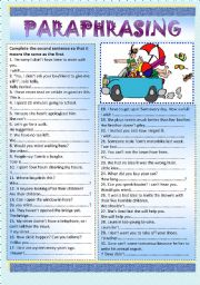 Printables Paraphrasing Worksheets english teaching worksheets paraphrasing key