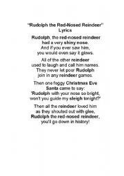 english worksheet rudolph the red nosed reindeer