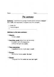 English Worksheets: writing- sentence level