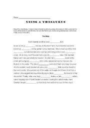 English Worksheets: Thesarus Worksheet 1
