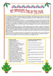 English Worksheet: My favourite time in the year. Christmas. Reading comprehension.