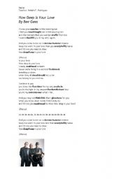 English Worksheet: Bee Gees - How deep is your love