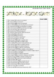RELATIVE CLAUSES sPeAkInG aCtIvItY or USE IT AS A WARMER!