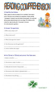 English Worksheets: Reading comprehension for kids