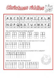 graphic about Christmas Riddles Printable named Xmas riddles - ESL worksheet as a result of zava