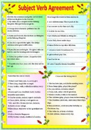 English Worksheets: Subject Verb Agreement (with answer key) **editable