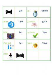 english worksheets phrasal verbs domino environment. Black Bedroom Furniture Sets. Home Design Ideas