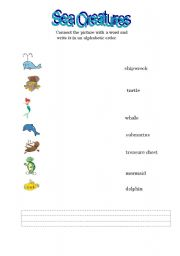 English Worksheets: Sea creatures connect
