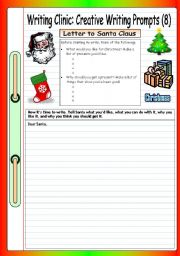 English Worksheet: Writing Clinic: Creative Writing Prompts (8) - Letter to Santa Claus