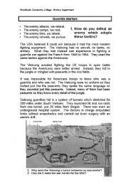 English worksheets: Guerilla Warfare - Vietnam War