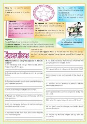 English Worksheet: Be supposed to, have to, be to [rules, examples and exercises] keys and B&W version included ((3 pages)) ***editable