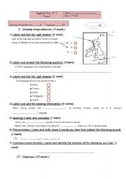 2nd year  listening comprehension test (Tunisian curriculum)