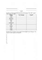 English Worksheet: Cognates