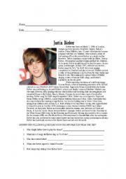 English Worksheet: Justin Bieber reading comprehension