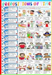 English Worksheet: PREPOSITIONS OF TIME -AT-IN-ON (B&W VERSION+KEY INCLUDED)