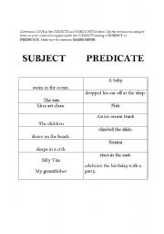 Subject Predicate Cut and Paste