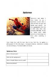 English Worksheet: Spiderman reading worksheet