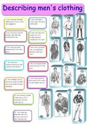 English Worksheet: Describing what men are wearing 3/3 - matching activity, editable