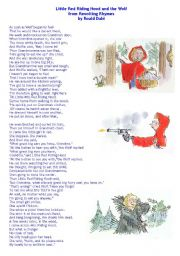 English Worksheet: Little Red Riding Hood and the Wolf by Roald Dahl