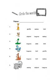 English Worksheets: circle the word.jungle animal