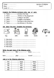 English test for grade 3 - ESL worksheet by samar