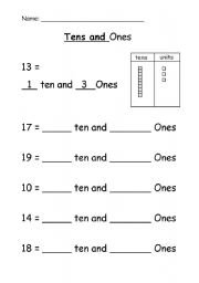 Printables Tens And Ones Worksheets english worksheets tens and ones worksheet ones
