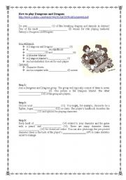 English Worksheets: How to play Dungeons and Dragons