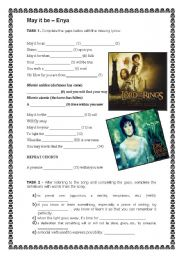 English Worksheet: May it be - Enya - The Lord of the Rings Soundtrack