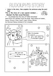 English Worksheet: Rudolph�s Story-Part 1