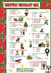 English Worksheet: CHRISTMAS VOCABULARY QUIZ