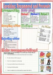 English Worksheets: Speaking: Recommend and Persuade