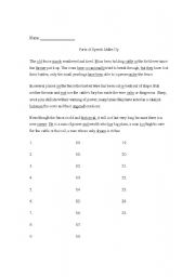 English Worksheets: Parts of Speech Practice