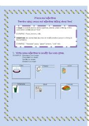 English Worksheet: FOOD (NOUNS AND ADJECTIVES)