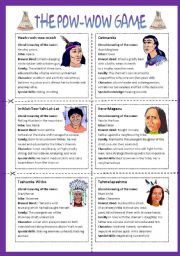 English Worksheet: The Pow wow game