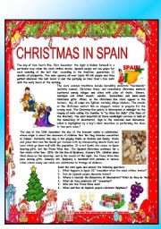 English Worksheet: CHRISTMAS AROUND THE WORLD - PART 1 - SPAIN (B&W VERSION INCLUDED) - READING COMPREHENSION