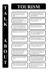 English Worksheet: Tourism - 18 conversation cards (editable)